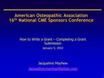 How to Write A Grant - American Osteopathic Association