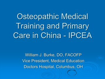 Osteopathic Medical Training and Primary Care in China - American ...