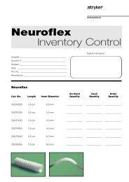 Neuroflex Inventory Control Sheet - Stryker