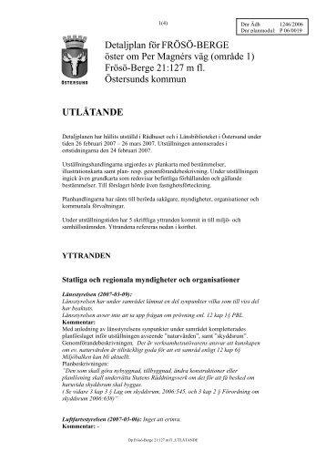 Utlåtande - Östersunds kommun