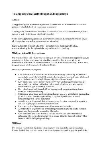 Tillämpningsföreskrift till upphandlingspolicyn