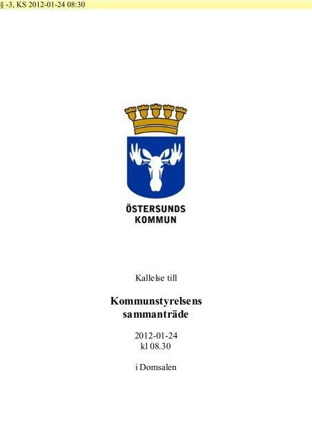 Kommunstyrelsens sammanträde - Östersunds kommun