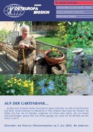 aUF DER GaRtENBaNk… - Osteuropamission Schweiz