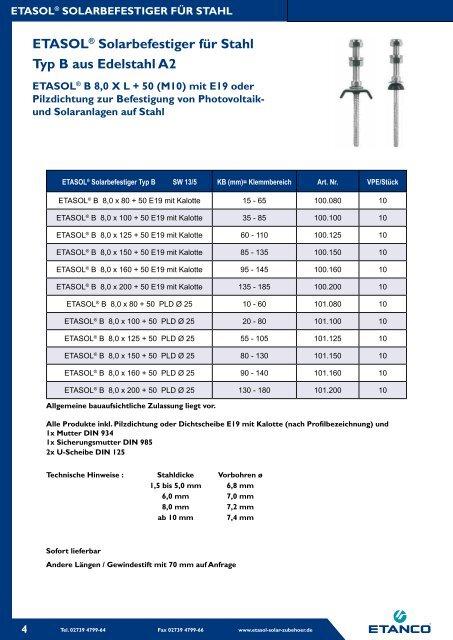 ETASOL® Sechskantschraube aus Edelstahl A2 - Etanco