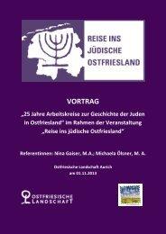 """im Rahmen der Veranstaltung """"Reise ins jüdische - Ostfriesische ..."""