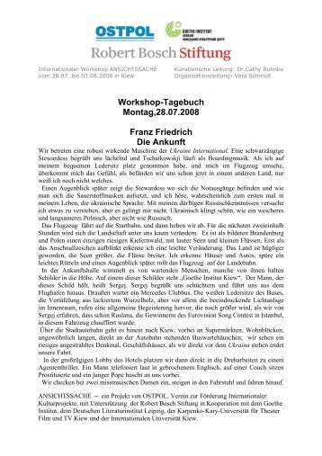Workshop-Tagebuch Montag,28.07.2008 Franz Friedrich ... - OSTPOL