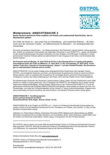 Weltpremiere: ANSICHTSSACHE 2 - OSTPOL