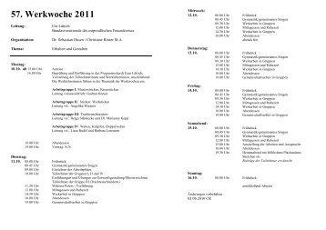 57. Werkwoche 2011 - Landsmannschaft Ostpreußen