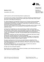 Newsletter 01/2011 Versanddatum: 04.01.2011 Liebe Freundinnen ...