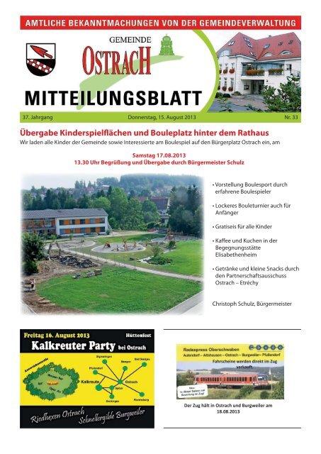 Mitteilungsblatt Woche 33 Ostrach