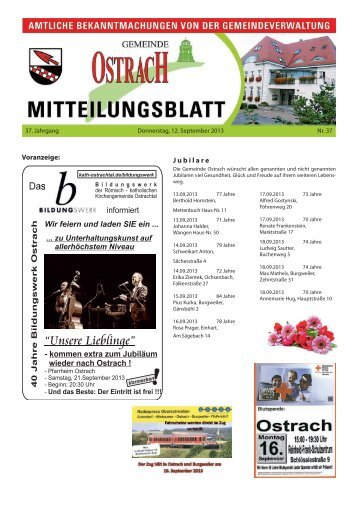 Mitteilungsblatt Woche 37 - Ostrach
