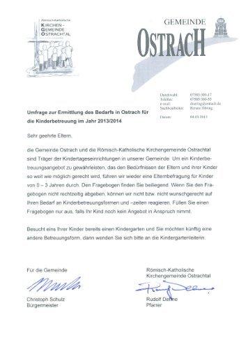Umfrage zur Ermittlung des Bedarfs in Ostrach für die ...