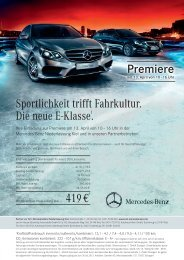 Sportlichkeit trifft Fahrkultur. Die neue E-Klasse1. 419 €4 Premiere