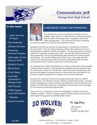 Dr. Jeff Craig A MESSAGE FROM OUR PRINCIPAL - Oswego ...