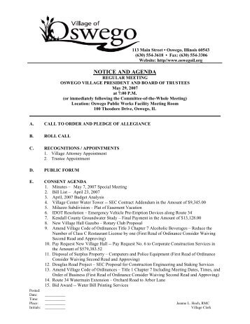 NOTICE AND AGENDA - Oswego Illinois