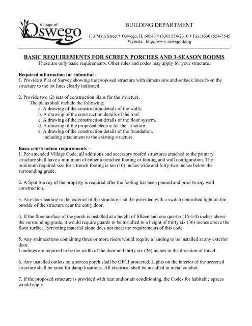 Porch & 3-Season Room Permit Application - Oswego Illinois