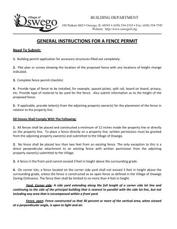 GENERAL INSTRUCTIONS FOR A FENCE PERMIT