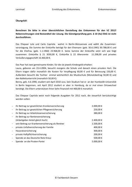ESt Sonderausgaben (3.Semester) - OSZ Lotis Berlin