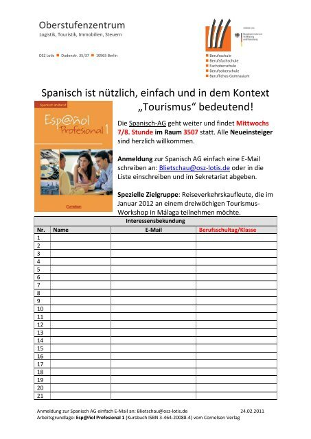 Spanisch ist nützlich, einfach und in dem Kontext ... - OSZ Lotis Berlin