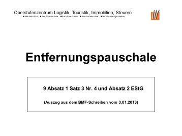 Entfernungspauschale 2013 - OSZ Lotis Berlin