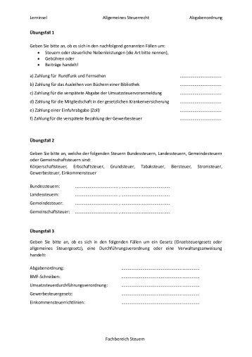 Allerlei des allgemeinen Steuerrechts Teil I - OSZ Lotis Berlin