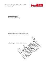 Rahmenplan der Fachschule für Sozialpädagogik
