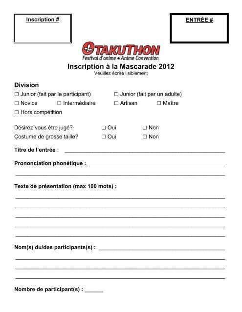 quality design 2bd7c df4ee formulaire d inscription pour la mascarade - Otakuthon
