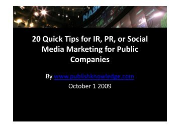 20 Quick Tips for IR, PR, or Social Media Marketing ... - OTC Listings