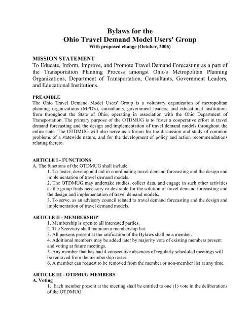 OTDMUG Bylaws - Ohio Travel Demand Model Users Group
