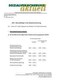 2011: Neue Beträge in der Sozialversicherung ... - Hauptverband