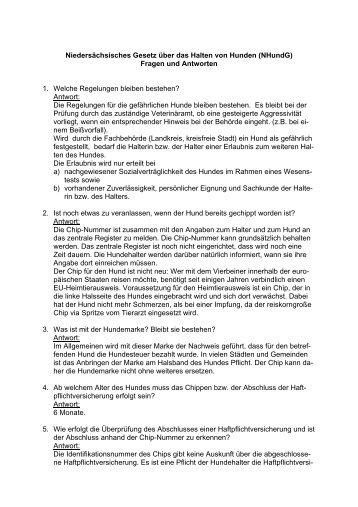 Niedersächsisches Gesetz über das Halten von Hunden (NHundG ...