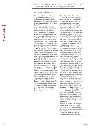 [Umrisse] Zeitschrift für Baukultur 2/2012 - Otto Bartning ...