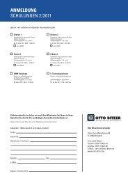 ANMELDUNG SCHULUNGEN 2 /2011 - Otto Bitzer GmbH