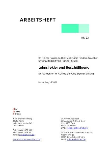 Lohnstruktur und Beschäftigung - Otto Brenner Shop