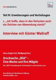 Interview mit Günter Wallraff - Otto Brenner Stiftung