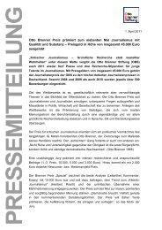 Pressemitteilung: Otto Brenner Preis 2011 - Otto Brenner Stiftung