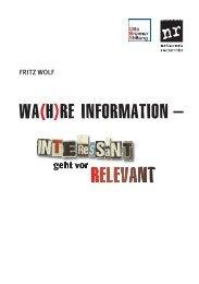 WA(H)RE INFORMATION – - Netzwerk Recherche