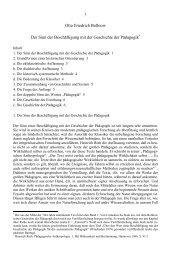 Otto Friedrich Bollnow Der Sinn der Beschäftigung mit der ...