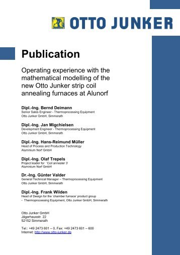 Operating experience with the mathematical modelling - Otto Junker ...