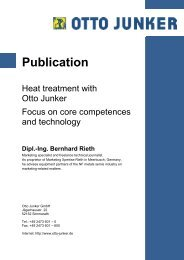 Focus on core competences and technology - Otto Junker GmbH