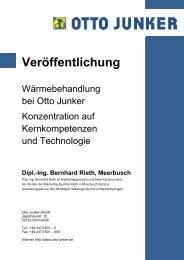 Konzentration auf Kernkompetenzen und Technologie - Otto Junker ...