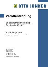 Batch oder Konti? - Otto Junker GmbH