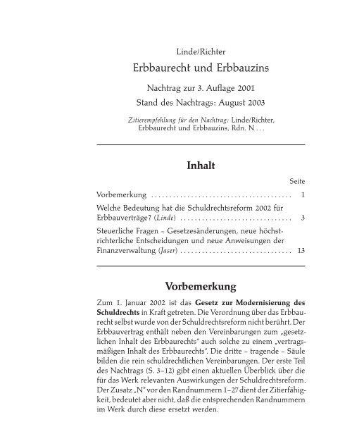 Kostenloser Nachtrag zur 3. Auflage - Verlag Dr. Otto Schmidt