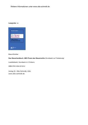 Braun/Günther, Das Steuerhandbuch. ABC-Praxis des Steuerrechts ...