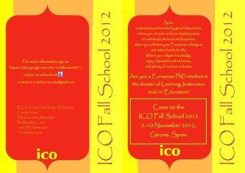 ICO Fall School 2012 ICO Fall School 2012 - Universit
