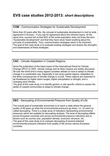 EVS case studies 2011-2012 tentative list