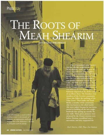 THE ROOTS OF MEAH SHEARIM