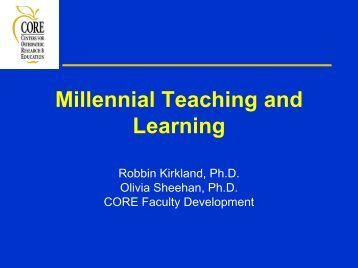 Millennial teaching and learning