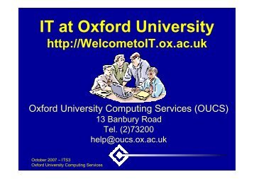IT at Oxford University - Computing Services