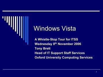 Windows Vista - Computing Services - University of Oxford